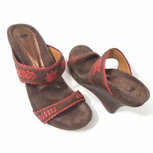 Anthropologie Whipstitch Orange Brown Suede Sandal